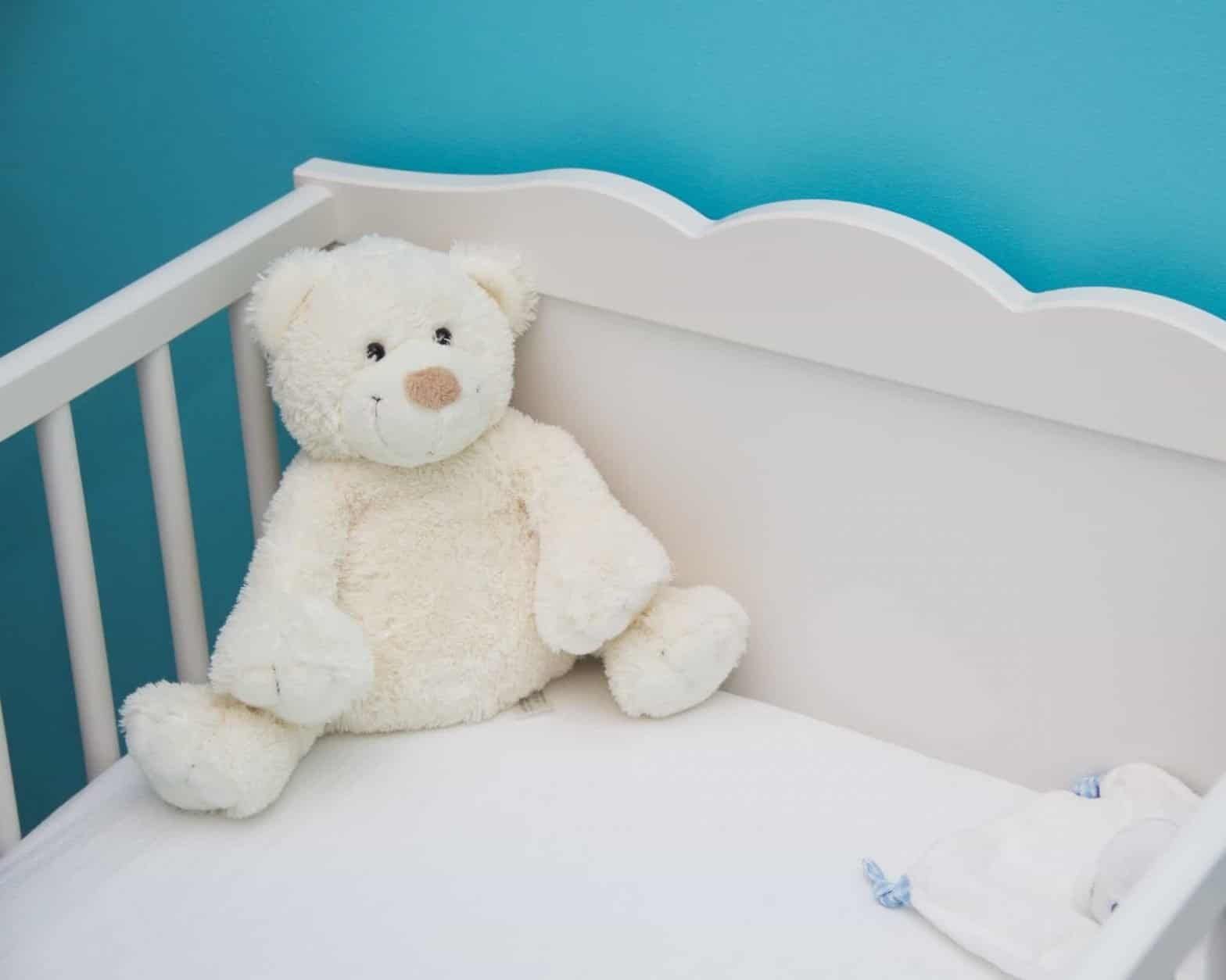 toy bear in the cradle